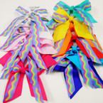 "6"" 2 Layer  Gator Clip Tail Bows Solid/Rainbow Mixed Colors .54 ea"