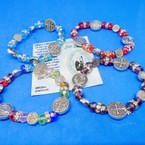 Crystal Bead Bracelets w/ Silver San Benito Charm .54 ea