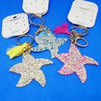 Crystal Stone Bling Starfish Keychain/Purse Charm w/ Tassel .54 each