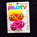 Carded 4 Pack Neon Color Soccer Whistle Necklaces .55 per pk