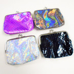 "4"" Metallic Mermaid Scale Snap Closure Coin Purses .54 each"