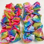 "5"" 2 layer Gator Clip Bows Rainbow Sequin Style .56 each"
