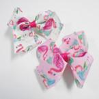 """4"""" Flamingo Theme Gator Clip Bows 24 per pack .27 each"""