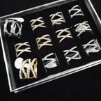 """HI Fashion Gold & Silver DBL """"X"""" Crystal Stone Rings .54 each"""