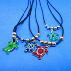Black Leather Cord Necklaces w/ Colorful Turtle Pendants .54 each