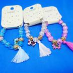 Glass & Fireball Beaded Bracelet w/ Butterfly & Tassel .54 ea