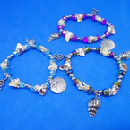 Crystal Stone & Shell Under the Sea Bracelets w/ Silver Charms .54 ea