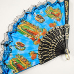 "Guadalupe Theme 9"" Picture Lace Hand Fans .54 each"