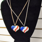 "18"" Gold & Silver Chain Necklace w/ USA Heart Pendant w/ Stones .56 ea"