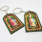 "2.5"" Guadalupe Theme Handmade Wood Keychains  .56 each"