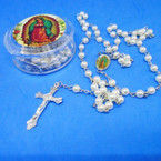 "36"" Guadalupe White Pearl Rosary w/ Silver Cross w/ Jesus in Case  .56 each"