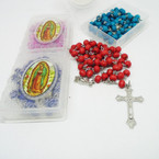 "36"" Scent Wood Bead Rosary w/ Silver Cross w/ Guadalupe in Case  .56 each"