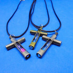 Black Cord Necklace w/ Matt Gold & Silver Sand Cross Pendant .54 each