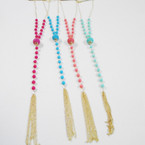 "36"" Gold Chain Fashion Necklace w/ Colored Beads & Gold Tassel .58 each"