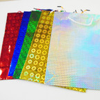 "Hologram Gift Bags Large Size Asst Colors 10.5"" X 13.5"" .45 ea"