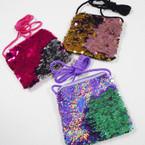 "4"" Changing Color Sequin Zipper Bag w/ Lg. Strap .54 each"