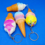 "4"" Squishy Scented Ice Cream Cone  Keychains .60 ea"