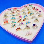Mixed Style Kid's Crystal Stone Fashion Rings 36 pc box .19 each