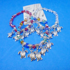 Crystal Stone Bracelets w/ Silver Turtle  Charms .54 each