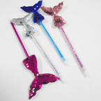 "10"" Asst Color Sequin Mermaid Tail Fashion Pens 12 per unit .54 each"