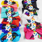 "5"" 2 Layer Gator Clip Bows w/ Unicorn & Sequin Center .54 each"