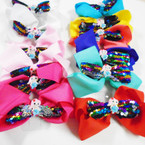 "5"" 2 Layer Gator Clip Bows w/ Mermaid & Sequin Center .54 each"