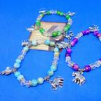 Glass & Crystal Bead Bracelet w/ Silver Elephant Charms .54 each