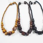 "3 Color 18"" Wood Beaded Fashion Necklace Set .54 per set"