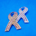 "2"" Gold & Silver Pink Ribbon Crystal Stone Broaches .60 each"