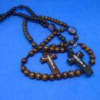 """30"""" Wood Bead Rosary w/ Angel & Cross w/ Jesus .54 each"""