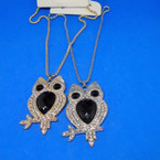 "18"" Fancy Gold/Silver Chain Necklace w/ 2"" Crystal Stone Owl .54 each"
