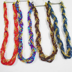 "20""  Seed Bead & Gold Link Chain Fashion Necklace  Asst Colors .54 each"