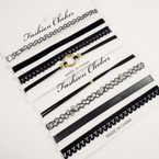SPECIAL 4 Pack Fashion Choker Sets All Black   .58 per set
