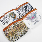 "Mixed Leopard Theme Print 4.5"" Zipper Coin Purse .54 each"