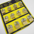 3 Size Brass Padlocks on display Card 15MM,20MM,25MM .54 each