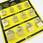 3 Size Brass Padlocks on display Card 20MM,25MM,30MM .56 each