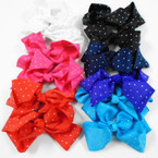 "5"" Gator Clip Bows w/ AB Stones Bright Color Mix .54 each"