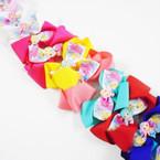 "Cute 5"" 2 Layer Gator Clip Bows w/ Mermaid Figure Mix Colors .54 each"