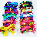 "5"" Metallic Rainbow Ribbon Gator Clip Bows Bright Colors  .54 each"
