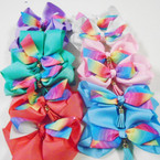 "5"" Layer Gator Clip Bows Tye Dye w/ Dangle Tassel .54 each"