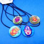 Black Cord Necklace w/ Dbl Sided Glass Colorful Hamsa Pendant .54 ea