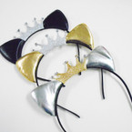 Blk,Gold & Silver Cat Ear Headbands w/ Glitter Crown .56 ea