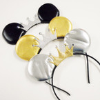 Blk,Gold & Silver Mouse Ear Headbands w/ Glitter Crown .56 ea