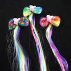 "3.5"" Sequin w/ Mermaid Figure Gator Clip Bows w/ 10"" Colored Hair Strands .58 each"