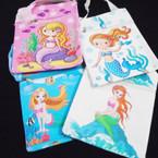 "Big 6"" x 7.5"" Mermaid/Unicorn Theme Zipper Side Bag w/ Lg Strap .60 ea"