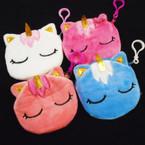 "4"" Velveteen Unicorn Zipper Bag w/ Clip Asst Colors .56 each"