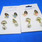 Mermaid & Gold Shell Earring Set Asst Colors .52 per set