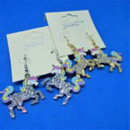Gold & Silver Sparkle Finish Unicorn Earrings .54 each