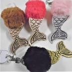 "4.5"" Faux Fur Mermaid Tail Fashion Keychains .56 each"