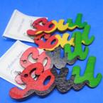 "3.5"" Rasta Color Mix Wood Fashion Earrings SOUL .52 each"
